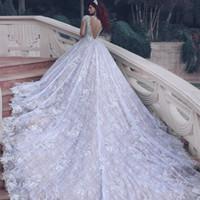 2017 Luxury Lace Wedding Dresses Sheer Neck Long Sleeves Bac...