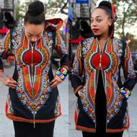 2017 Primavera Hot Hooded preto dashiki jaqueta Africano mulheres casacos básicos sexy profundo v pescoço luva longa Africano Casaco casual Casaco longo com zip