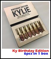 5 серия цена фабрики Горячие Кайли Косметика матовая жидкая помада для губ Mini Kit День рождения Limited Edition с золотым Box 6шт / комплект блеск для губ