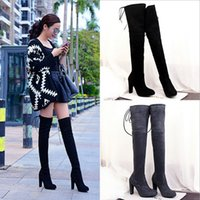 New British Warm Over The Knee Women Boots Free Shipping Chu...
