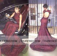 2016 Черная девушка Пром платья Блестки Русалка Backless Sheer платья с длинным шлейфом официально мантии вечера Red Carpet Runaway платье