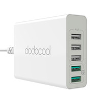 Dodocool 60W 5 Port USB Desktop Charging Station Travel Wall Charger Adaptador de alimentação com 2 Quick Charge 3.0 para dispositivos alimentados por USB DA85