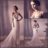 Summer A Line Wedding Dress Spaghetti Bling Bling shinny Cry...