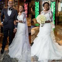 Real Image Sexy Русалка органзы белого кружева аппликация с коротким рукавом плюс размер Скромные Нигерийские Свадебные платья 2017 года