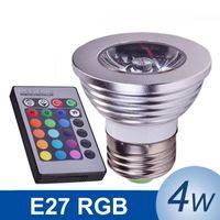 4W E27 RGB LED Lamp 85- 265V LED RGB Bulb Spotlight LED Light...