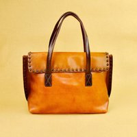 KISSUN- PRE- 002 Vintage Women Shoulder Bag Tanned Leather Ant...