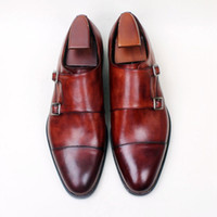 Men Dress shoes Monk shoes Custom handmade shoes Genuine cal...