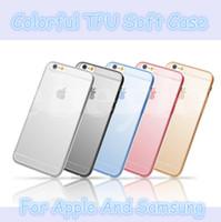 Ultra mince 0,2 mm couleur étui souple pour Iphone 6 plus 5 Samsung Galaxy S7 bord S6 S5 S4 Note 5 4