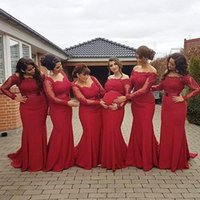 2016 New Arabic African Red Bridesmaid Dresses Plus Size Mat...