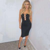 2016 new sexy Fashion Inspired Button Embellishd Celebrity P...