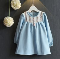 2016 Autumn Princess Girls Fall Water Blue Party Dresses Tas...