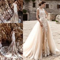 Vestido De Noiva Bridal Gown Champagne Vintage Sexy Lace Det...