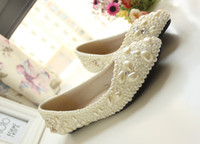 Comfortable Flats Full Pearls 2016 Wedding Shoes with Flower...