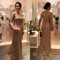 2016 Full Lace Gold Mother of the Bride Dress Long Sleeves W...