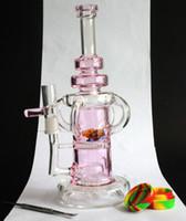 Rose 10 «conduites d'eau en verre épais barboteur en verre recycleur bong nid d'abeille perc plate-forme pétrolière Les rigs dab livraison gratuite