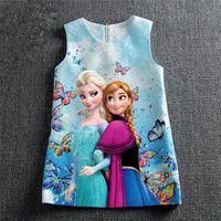 Hot 2016 Girl Dress Girls Elsa Anna Dresses Butterfly Baby G...
