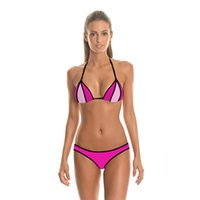 Sexy swimsuit Contrast Color bikini bodycon swimwear Halter ...