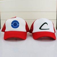 Poke Ash KETCHUM Costume Cosplay Mesh Cap Sun Hats Poke mesh...