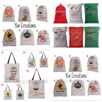 Christmas Halloween Drawstring Bag Halloween Pumpkin Tote Mo...