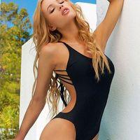 Retial 1pc 2016 Black white Sexy solid one piece swimwear sw...