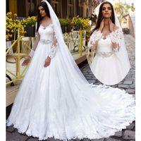 A-line Платья венчания Scoop +2017 с длинным рукавом на шнуровке Свадебные платья Поезд стреловидности Кружева и аппликация Длинные Платье De Noiva с поясом