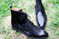 Men' s boots Custom handmade shoes Horse Hair Embossed O...