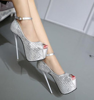 16cm Glitter sequined silver ankle strap super high heels br...