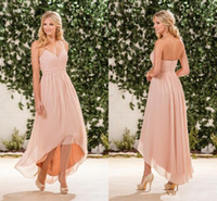 Vintage 2017 Jasmine Coral High Low Bridesmaid Dress Spaghetti Straps Chiffon Country Style Bridesmaid Dresses Party Gowns