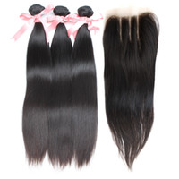 Silky Straight Brazilian Human Hair Weaves Top Lace Closure ...