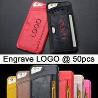 Logo customized iphone case with card clip leather iphone ca...