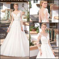 2017 Vintage French Lace Wedding Dresses Long Sleeve Sheer J...