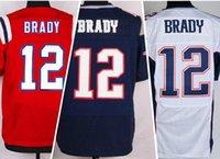 2016 Patriots #12 Tom Brady Red White Black Elite Football J...