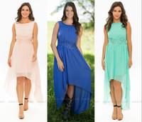Новые дешевые High Low Подружки Невесты Jewel Аппликации Hi_lo Дешевые Blush Mint синий горничной честь гостей свадьбы платье партии плюс размер Пользовательские