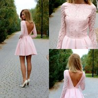 2016 Pink Lace Short Homecoming Dresses With Long Sleeve Ope...