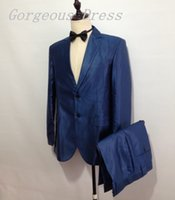 High Quality Two Piece Blue Man Suits Notched Lapel Two Butt...
