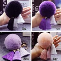 10PCS LOT Gold 8CM Rabbit Fur Ball High- end ice silk tassel ...