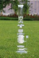 7mm White Dumbbell water bong avec perforation en nid d'abeille de 75mm et cire d'oiseaux perc glass waterpipe haute 20inches 12 ice catcheres