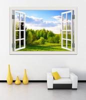 Удивительный Лесной пейзаж в Four Seasons 3D стикер стены зеленый Золотое дерево Съемный обои Творческий Вид из окна Home Decor