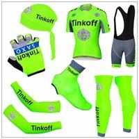 Fluo Green Tinkoff Saxo Road Racing Bicycle Jerseys Short Sl...