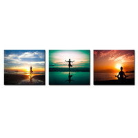 3 Pieces Настенная живопись Упражнение Йоги человека Закат Морской пейзаж Картина на холсте Печать на холсте для дома (деревянный каркас)