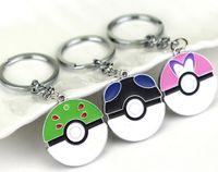 10pcs Pocket Monster Poke ball Keychains Cute Cartoon Flexib...