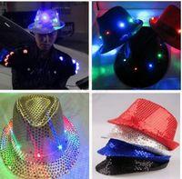 5 цвет LJJK303 мигающий свет вверх водить Fedora Трилби пришивания Unisex Костюмированный Dance Party Hat LED Unisex Хип-хоп Джаз лампа Световая Hat