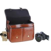 Gros-Koolertron PU SLR cuir DSLR caméra étanche Sacs Case Sac bandoulière Cameras Messenger Bag Convient pour 1 * DSLR + 3 * lentilles
