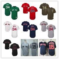 2016 New Custom 34 David Ortiz Boston Red Sox 15 Dustin Pedr...