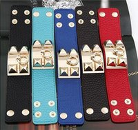 Fashion Rivet pyramid Genuine Leather Cuff Bracelet, Charming...