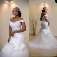 Elegant Off Shoulder Mermaid Wedding Dresses 2016 Ruffle Sle...