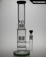 37cm de hauteur Matrix percolate bong en verre Honeycomb percolate Water Bong verre épais Huile de gréement de verre pipes de fumer joint 18.8mm PG022