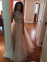 2016 Sexy Two Pieces Prom Dresses High Neck Beaded Top Champ...