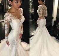 Mermaid Wedding Dresses 2016 Sheer Long Lace Appliques Sleev...