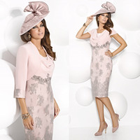 Cap Sleeves Mother Of The Bride Cabotine Tiered Scoop Knee L...